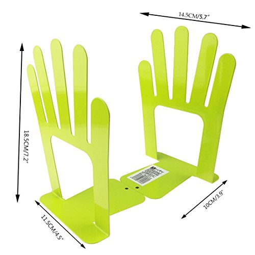 Cute Five Fingers Palm Of Open Hands Book Organizer One Pair Metal Bookends For Kids School Library Desk Study Home Office Decoration Gift (Green) by Apol (Image #2)