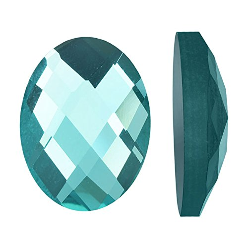 Beadaholique Mirror Flat Back Glass Cabochons, 13x18mm Faceted Ovals, 4 Pieces, Aquamarine ()