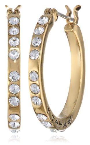 UPC 748838300731, T Tahari Small Crystal Gold Hoop Earrings