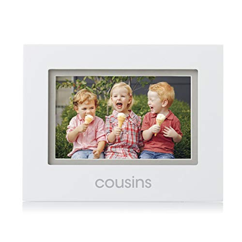 Pearhead 4-Inch x 6-Inch Cousins Picture Frame, Cousin Gifts, Baby Shower Gift, White