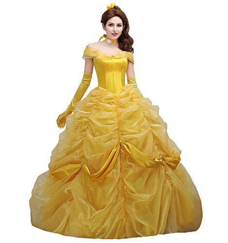 Angelaicos Women's Lace Yellow Princess Costume Long Dress Bride Ball Gown (S) by Angelaicos