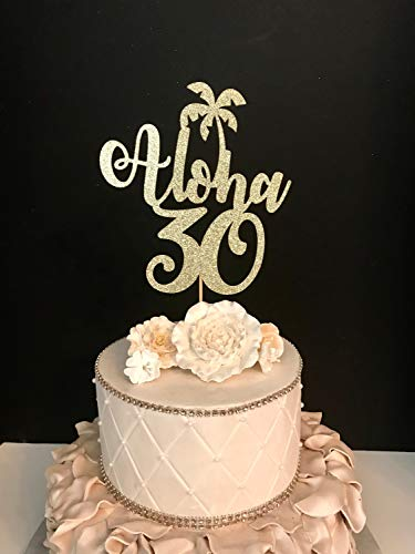 Funlaugh Any Number Gold Glitter Aloha 30 30Th Birthday Hawaiin Theme Tropical Funny Cake Topper Wedding Decorations Party Favor Gift for Women Men