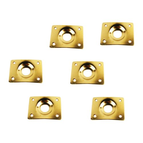 - IKN 6pcs Guitar Bass Socket Plate Metal Rectangular Dented 1/4 (6.35mm) Output Input Jack Plate for Guitar Replacement,Golden