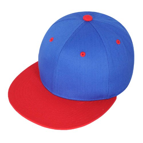 Raw Blue 2-Tone Basic Snapback Cap in Royal Red