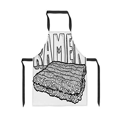 Pinbeam Apron Dorm Doodle Ramen Noodles College Food in Bachelor with Adjustable Neck for Cooking Baking ()