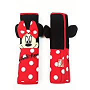 2 Pieces Minnie Mouse 10  Car Seat Belt Shoulder Pad Covers Red,black