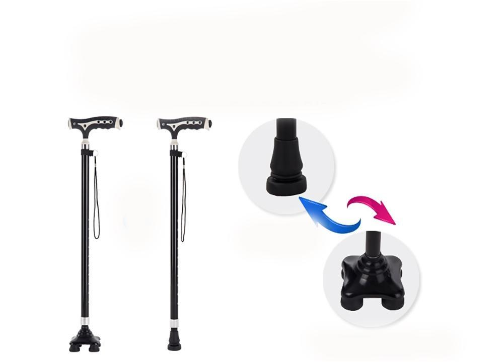 G&M Extendable Walking Stick Lightweight Height Adjustable Walking Stick 68-89 cm Black , 2 by crutch (Image #6)