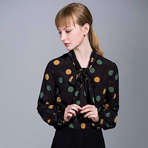 Punto Gasa Vintage Con Seda Corbata Manga Camisa De Lazo Onda Aibab Mujer Polo Suelto Ropa Larga tvwq7x