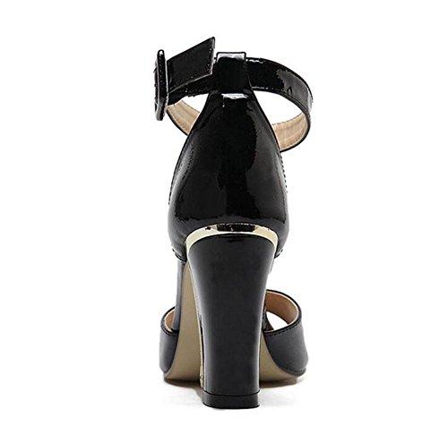Sandalias Mujeres Damas GLTER Bombas Bombas Cabeza De Rimmed Peep Sandalias Zapatos Tacón Bloque Alto Cuero Oro Ankle Liso Toe Corte black Zapatos De Negro Pez Heel Strap Verano De Zapatos UdqnrqxF