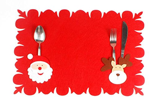 MONOMONO-Xmas Decoration Dinner Table Mat Santa Claus Placemat (santa claus + - Map Springs Mall Coral