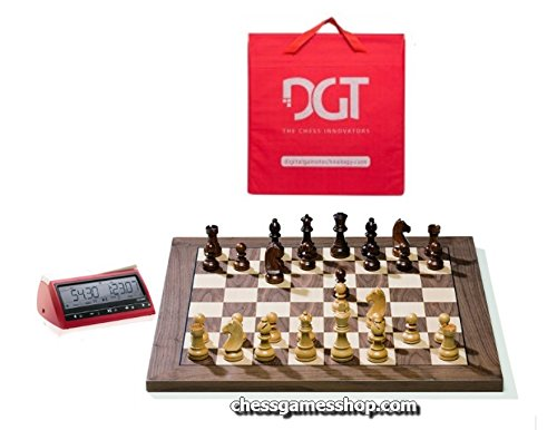DGT USB Walnut e-Board with Timeless pieces - DGT 3000 and carrying bag included chess boar5d by DGT