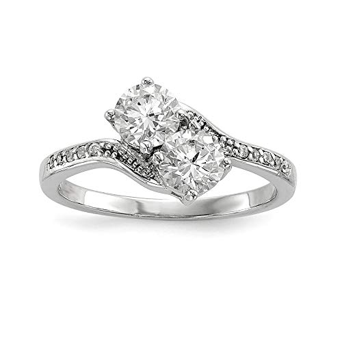 (Sterling Silver 5 MM Two Stone CZ Bypass Ring, Size 8)