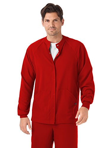 Classic Fit Collection by Jockey Unisex Snap Front Warm Up Solid Scrub Jacket Large Red
