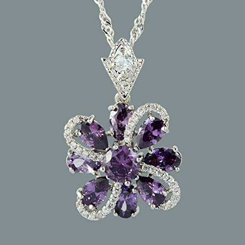 FidgetKute 18K White Gold Plated Purple Amethyst Gem Slide Pendant Necklace Curb Chain