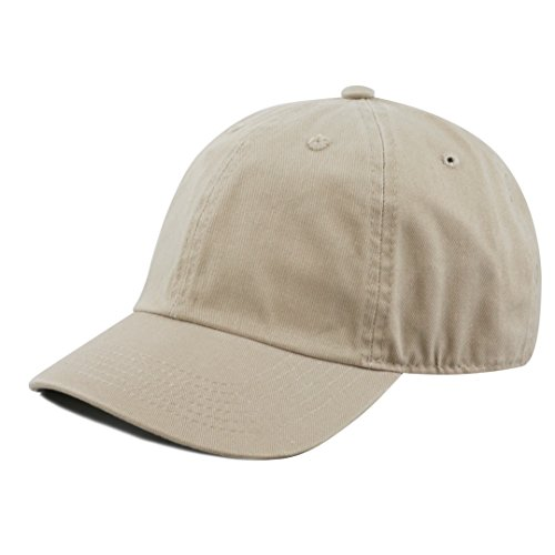 The Hat Depot Kids Washed Low Profile Cotton and Denim Plain Baseball Cap Hat (6-9yrs, Khaki)