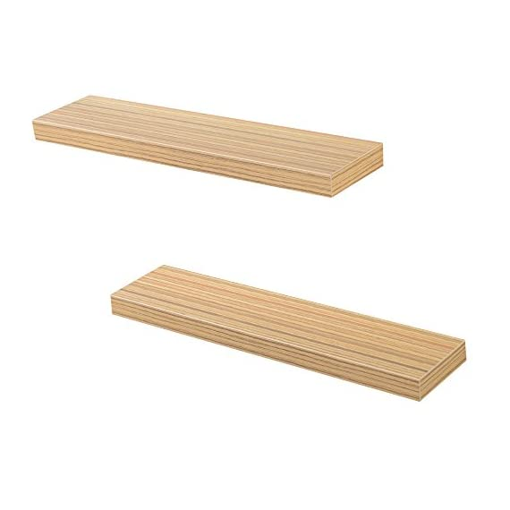 Heselian 24 Inch Floating Shelf, Floating Shelves Floating Wall Shelf, Oak(Set of 2) - Made from MDF & laminate Great for home, office & dorm, Decorative and functional. Displays pictures, books,toy and other decor - wall-shelves, living-room-furniture, living-room - 415w%2BdP7BHL. SS570  -