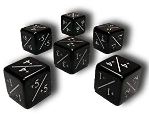 Set of 6 MTG +1/+1 Counter Dice (Black)