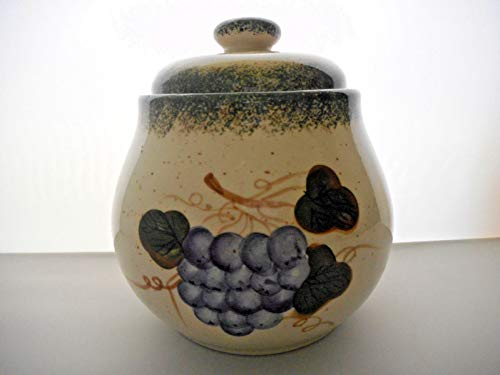 Unbraded Tuscany Grape Cream Ceramic Canister Jar from Unbraded