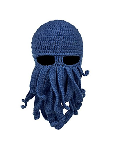 Fashionclubs Fashionclubs Women Men Winter Warm Octopus Entacle Beanie Wind Mask Knit Hat Cthulhu Fisher Cap(Navy)