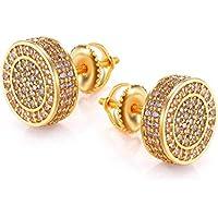 Gold Men Earrings 14 Gold Plate Mens Gold Earring for Men Screw Back Mens Hip Hop Jewelry
