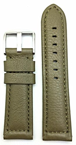 24mm Green Panerai Style Genuine Leather Watch Band | Smooth, Soft, Medium Padded Replacement Wrist Strap That Brings New Life to Any Watch (Mens Standard Length) ()
