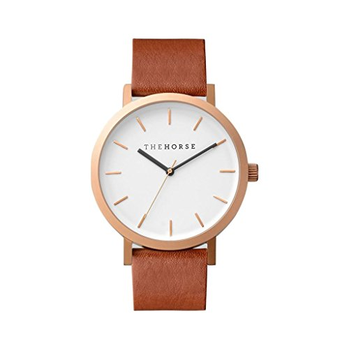 The Horse Original Brushed Rose Gold Watch - Walnut by The Horse