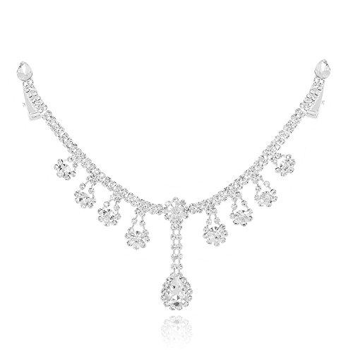(DMI Unique Shining Hair Jewelry Clear Rhinestone with Flower Pendants Bridal Forehead Chain Tiara)