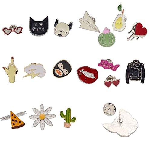 Qlychee Cute Enamel Cats Brooch Pin Cartoon Badge Succulent Plant Collar Lapel Pin 1 Set