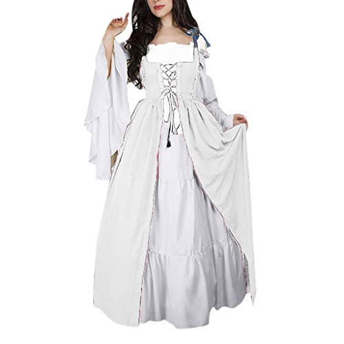 ♡QueenBB♡ Women's Floral Lace Up Vintage Dress Plus Size Trappy Corset Dress Gothic Halloween Clubwear Lace Skirt White -