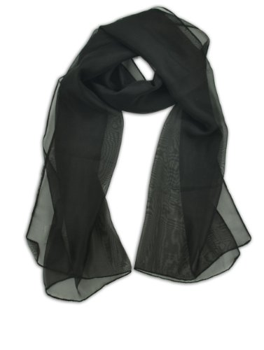 LJL Design Chiffon Scarf Oblong (Black)