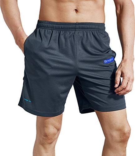 (ZENGVEE Men's Active Running Shorts Mesh Quick Dry Gym Training Shorts with Pockets(Gray01,L))