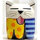 New Romero Britto Cat Salt & Pepper Shaker Set Ceramic Sculpture Pair Kitchen !!