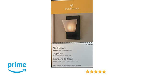Portfolio 5.52-in W 1-Light Matte Black Pocket Hardwired Wall Sconce - - Amazon.com