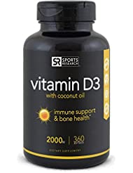Sports Research Vitamin D3 (2000iu) with Coconut Oil, 360 Liquid Softgels
