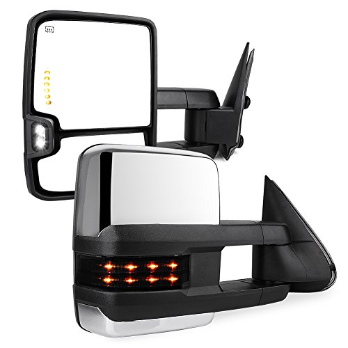 YITAMOTOR Compatible for GMC Power Heated LED Signal Reverse Light Tow Mirrors, for 2003-2006 Chevy Silverado/GMC Sierra/Cadillac Escalade, 2007 Chevy Silverado/GMC Sierra Classic Model