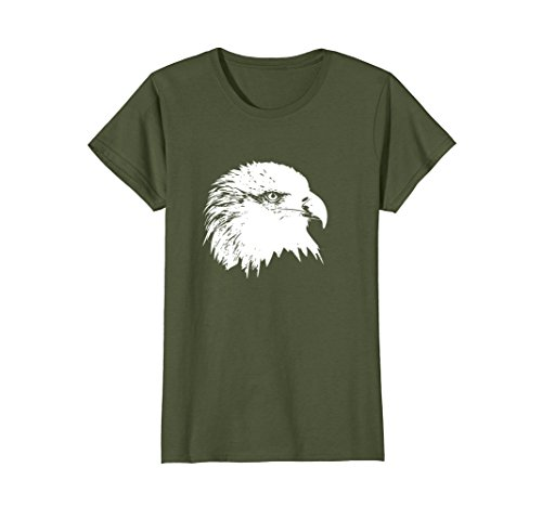 Womens Minimalist Bald Eagle Tshirt Small (Splendor Olive)