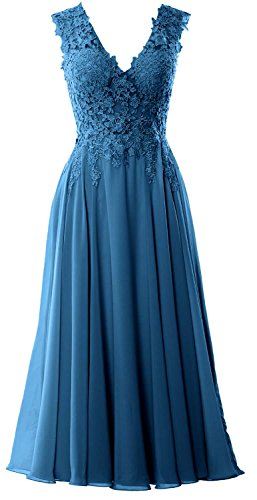 Gown Neck Homecoming MACloth Evening V Teal Prom Formal Gorgeous Tea Length Dress AqwIw6R0v
