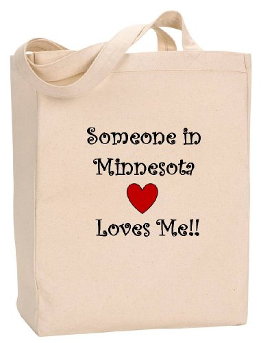 SOMEONE IN MINNESOTA LOVES ME - State Series - Natural Canvas Tote Bag with - Duluth Shopping Mall