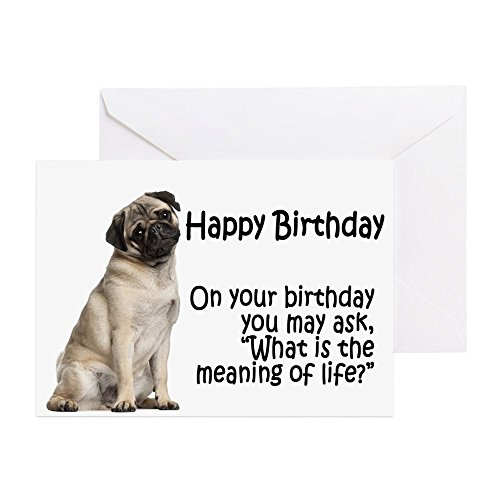 CafePress - Funny Pug Birthday Card - Greeting Card, Note Card, Birthday Card, Blank Inside Matte
