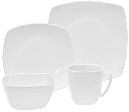 Soft Square Ceramic 16-pc.Dinnerware Set White - Threshold™ : Target