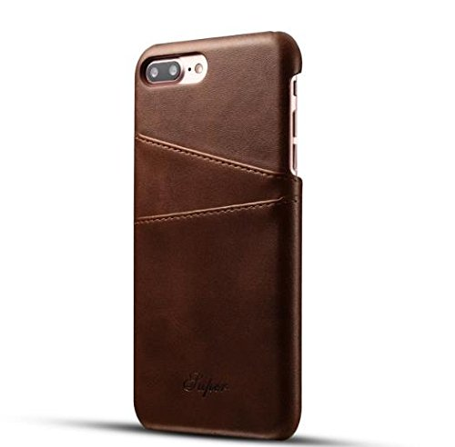Aulzaju iPhone 7 Plus Luxury Synthetic Leather Case, iPhone 8 Plus Super Slim Cow Leather Credit Card Case Fashion Comforatable Wallet Cover for iPhone 7 Plus/8 Plus-Brown by Aulzaju (Image #1)