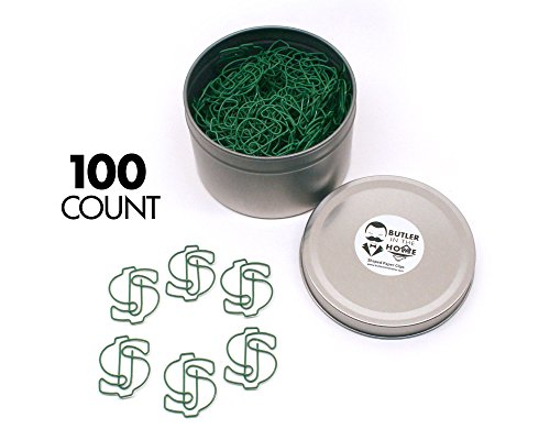 Butler in the Home Money Dollar Sign $ Shaped Paper Clips Great For Paper Clip Collectors or Office Gift - Comes in Round Tin with Lid and Gift Box (100 Count Green) ()