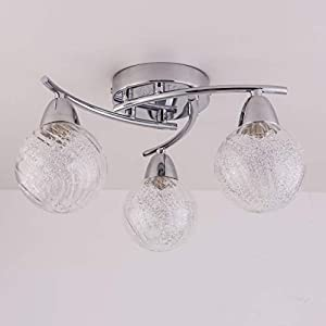 AUROLITE BOLLA 3xG9 LED Semi Flush Ceiling Light, Polished Chrome Finish, 12W, Ideal for Living Room, Bedroom, Kitchen…