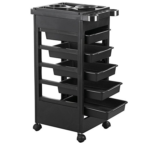 Yaheetech Beauty Salon Rolling Trolley Cart Hairdressing Trolley with 5 Drawers from Yaheetech