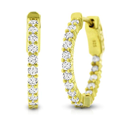 (.925 Sterling Silver Womens Cubic Zirconia CZ Chanel Set Clear Micro Pave Thin Small Round Huggie Hoop Earrings (Yellow))