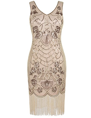 PrettyGuide Women's Flapper Dress Vintage Sequin Deco Cocktail 1920s Gatsby Dress S Champagne for $<!--$35.99-->