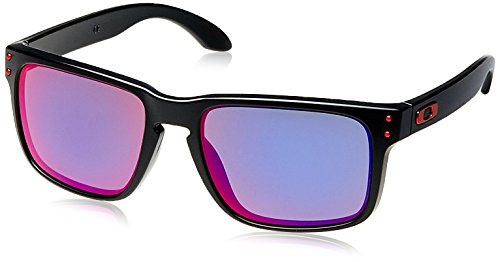 Oakley Holbrook OO9102-36 Iridium Sport Sunglasses,Matte Black/Positive Red Iridium,55 - Iridium Lens Green Oakley