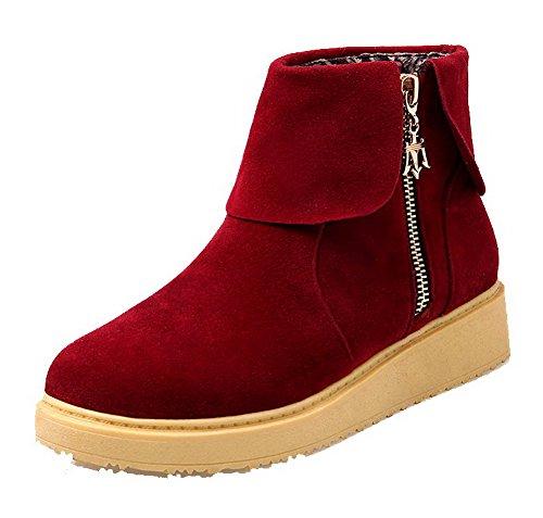AllhqFashion Damen Mattglasbirne Ziehen auf Rund Zehe Niedriger Absatz Rein Stiefel Rot