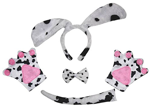 (Petitebella Long Ear Dog Headband Bowtie Tail Gloves 4pc Costume Adult (One Size,)