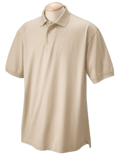 Chestnut Hill Men's Short Sleeve Performance Plus Jersey Polo Shirt CH180 beige Large (Mens Shirt Chestnut)